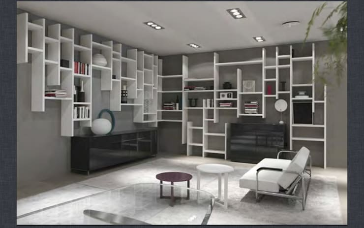 Wall hung random bookcase and sideboards :  Living room by Lamco Design LTD