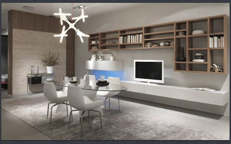 Wall hung TV unit and bookcase. Also with hidden storage.:  Living room by Lamco Design LTD