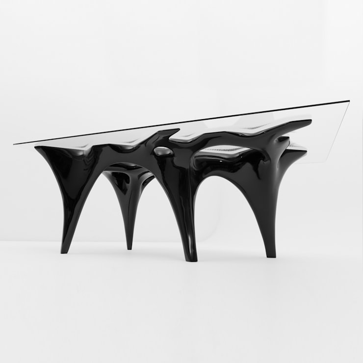 Flux Table in Black:  Dining room by studio INTEGRATE Ltd