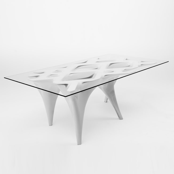 Flux Table in White:  Dining room by studio INTEGRATE Ltd