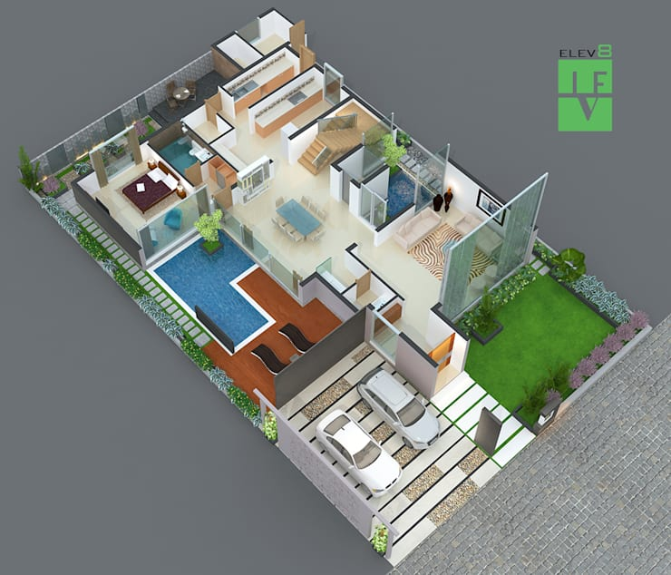 3d sliced floor plan:   by 3F Architects