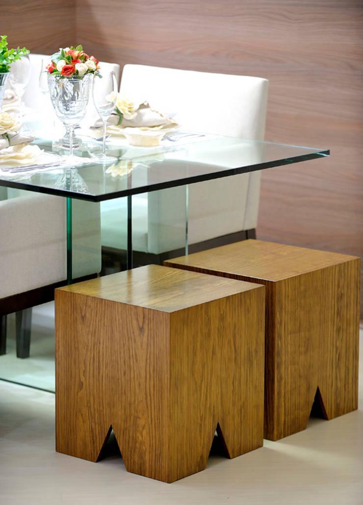 Apartamento integrado em Londrina: Salas de jantar  por Evviva Bertolini