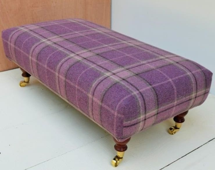 Highland Check Grape - Sewn footstool 93 x 46cm:  Living room by Herts Upholstery
