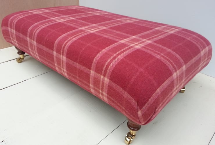 Highland Check Cranberry - Folded Corners Footstool 105 x 62cm:  Living room by Herts Upholstery