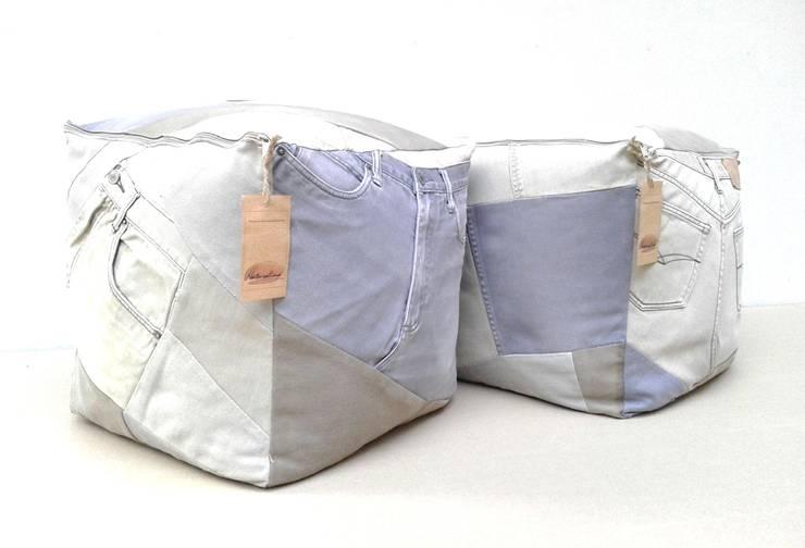 pufy SHABBY JEANS: styl , w kategorii Salon zaprojektowany przez Naturalina