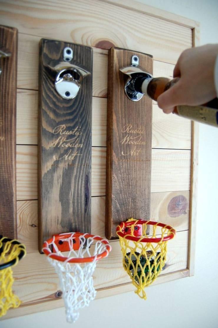 RusticWoodenArt – Duvara monte açacak - Basket/Renkli potalar: modern tarz , Modern