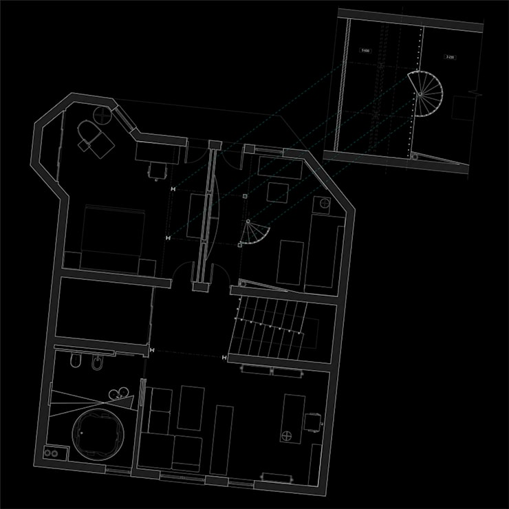 План второго этажа и антресоли - спальни комнаты дочерей:  в . Автор – CHM architect