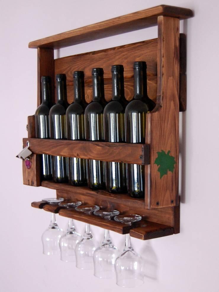 RusticWoodenArt – Rustik şarap rafı - Asma Yaprağı:  tarz , Rustik