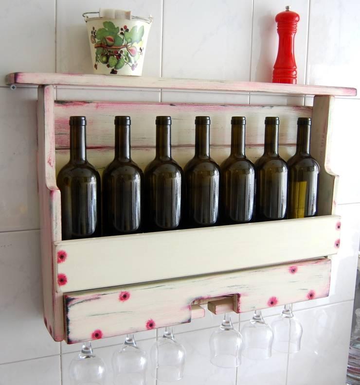 RusticWoodenArt – Rustik şarap raflarıı - Özel sipariş:  tarz İç Dekorasyon