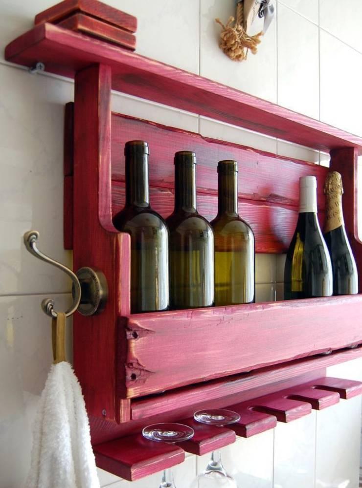 RusticWoodenArt – Rustik şarap rafı - Şarabi:  tarz İç Dekorasyon