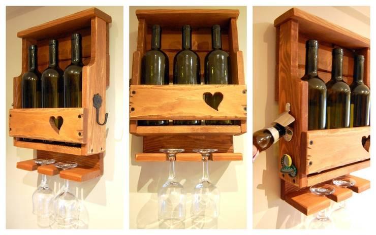 RusticWoodenArt – Rustik şarap rafı - Kalp:  tarz İç Dekorasyon