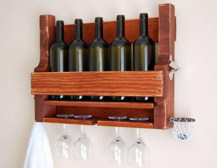 RusticWoodenArt – Rustik şarap rafı - Kızıl:  tarz İç Dekorasyon