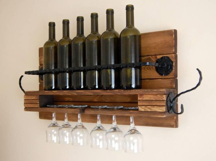 RusticWoodenArt – Rustik şarap rafı - Ferforje/L boy :  tarz İç Dekorasyon