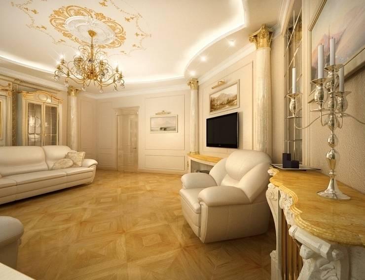 Классика в городе: Гостиная в . Автор – Дизайн студия 'Чехова и Компания'