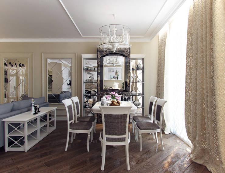 Квартира с элементами прованса: Гостиная в . Автор – Дизайн студия 'Чехова и Компания'