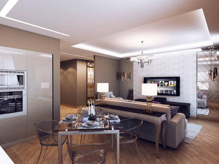 Квартира в стиле фьюжн: Гостиная в . Автор – Дизайн студия 'Чехова и Компания'