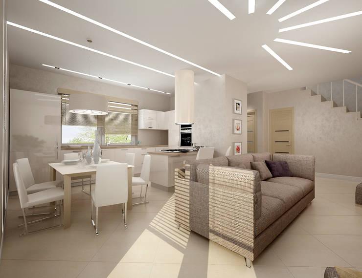Белое белым: Гостиная в . Автор – Дизайн студия 'Чехова и Компания'