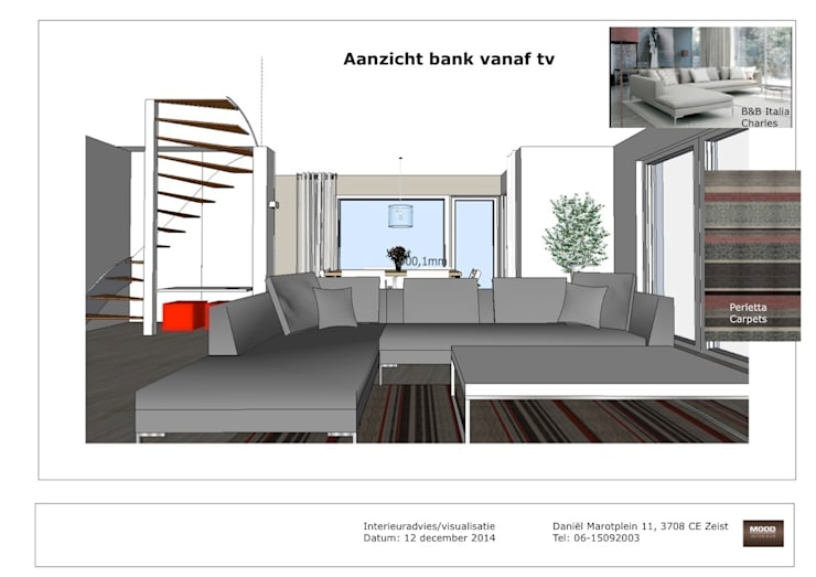 Visualisatie en interieur-voorstel woning Bunnik:   door Mood Interieur