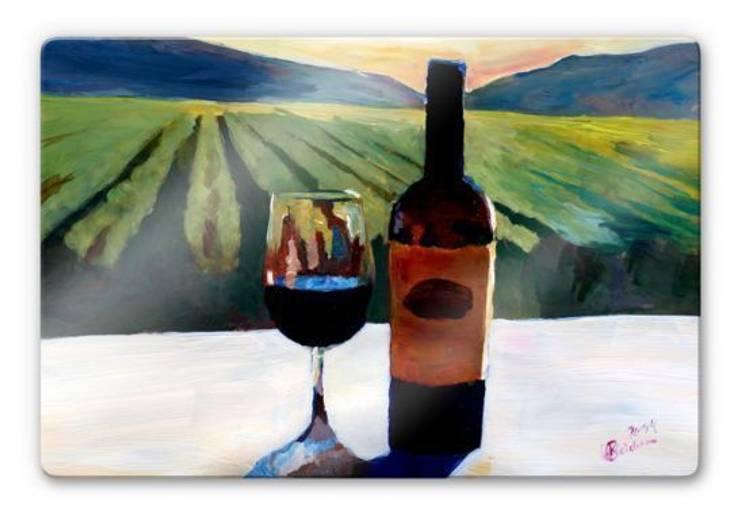 Tableau sur verre - Bleichner - Napa Valley, bouteille de vin avec du vin rouge: Salle à manger de style  par wall-art.fr