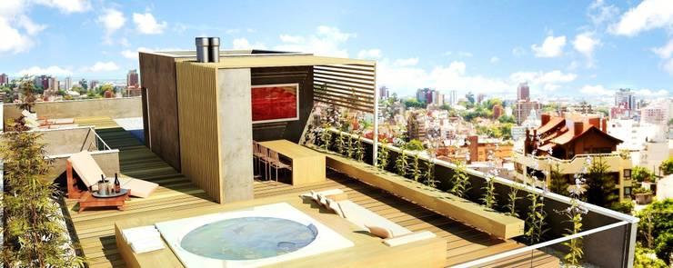 S17 LOFTS – Edificio Residencial Porto Alegre / Brasil: Terraços  por hola