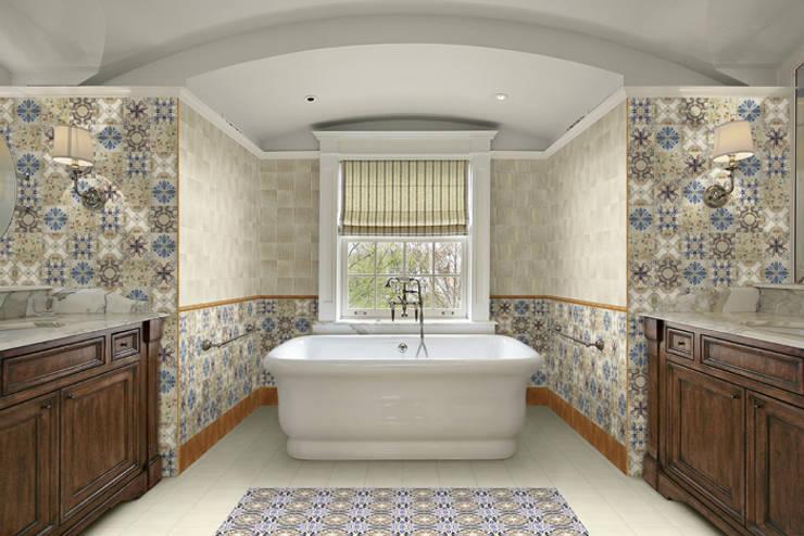 Banheiros rústicos por INTERAZULEJO