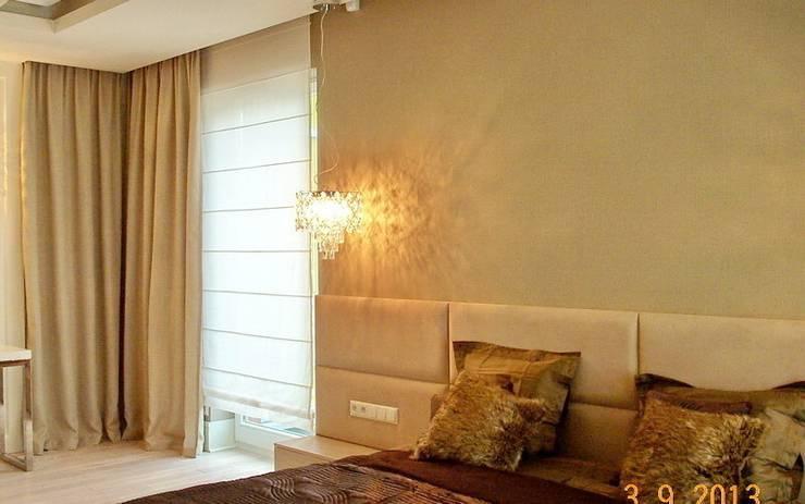 zasłony i roleta rzymska: styl , w kategorii Sypialnia zaprojektowany przez 7 razy ładniej