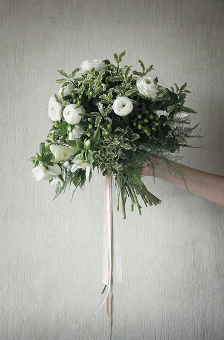 Bukiet Biało-zielony: styl , w kategorii  zaprojektowany przez Akuratnie