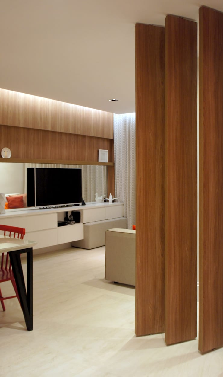 Sala de Estar/Jantar: Salas de estar escandinavas por fpr Studio