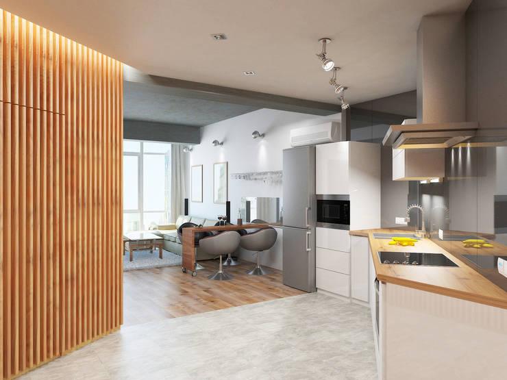 Дерево и бетон: Кухни в . Автор – Дизайн студия Александра Скирды ВЕРСАЛЬПРОЕКТ