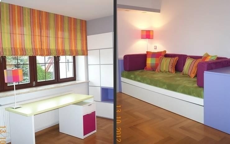Roleta rzymska, oswietlenie, poduszki dekoracyjne, meble tapicerowane : styl , w kategorii Pokój dziecięcy zaprojektowany przez 7 razy ładniej
