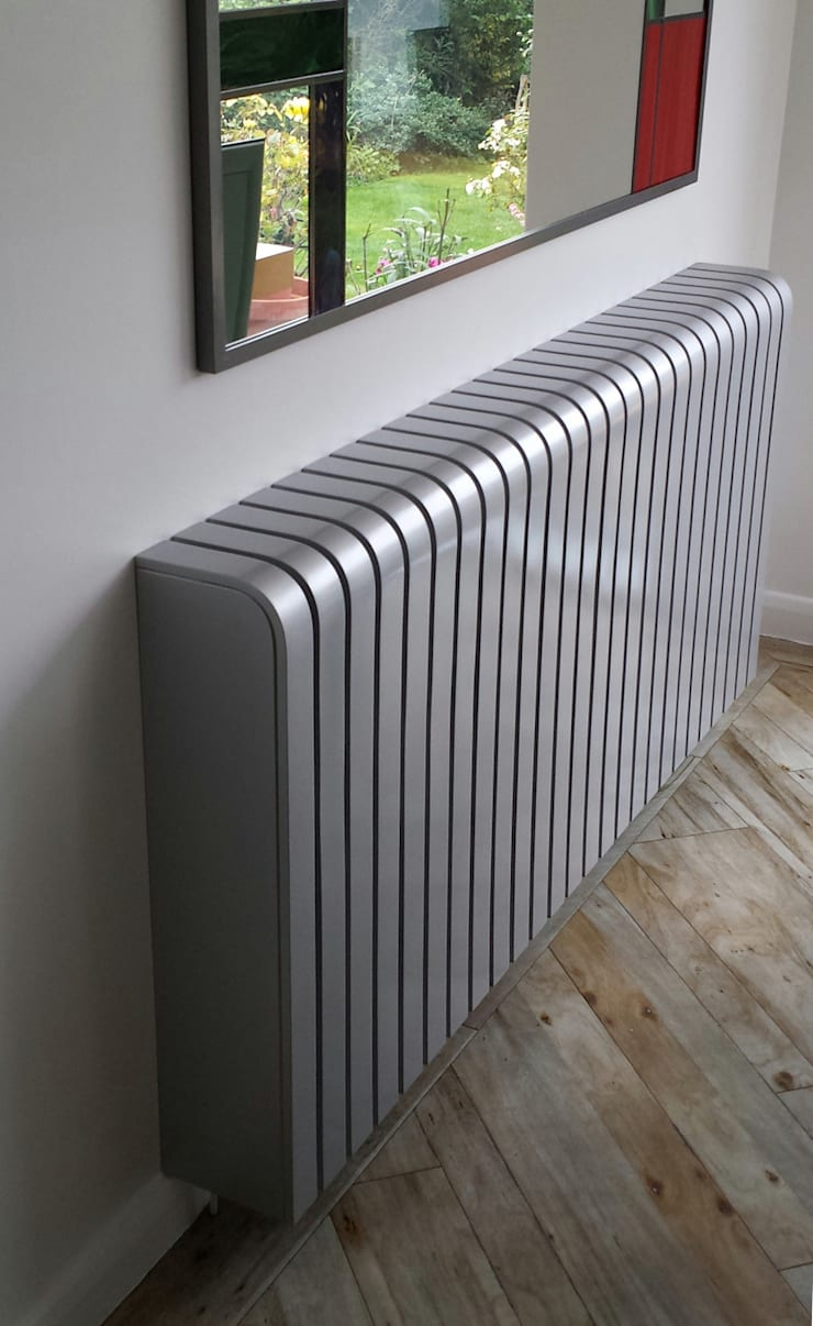 Glossy Silver Radiator Cover:  Living room by Cool Radiators? It's Covered!