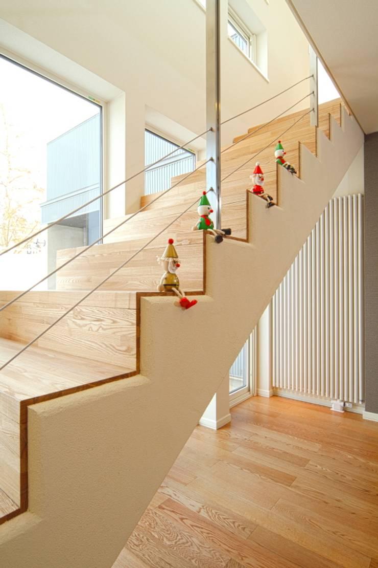 角地にたつ住宅: アウラ建築設計事務所が手掛けた廊下 & 玄関です。