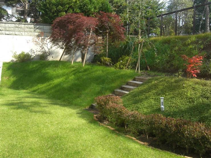 角地にたつ住宅: アウラ建築設計事務所が手掛けた庭です。
