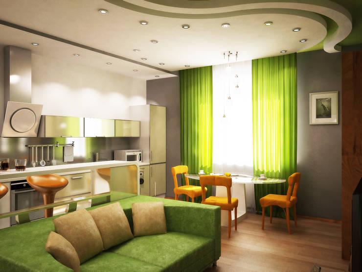 Любимый цвет: Гостиная в . Автор – Дизайн студия Александра Скирды ВЕРСАЛЬПРОЕКТ