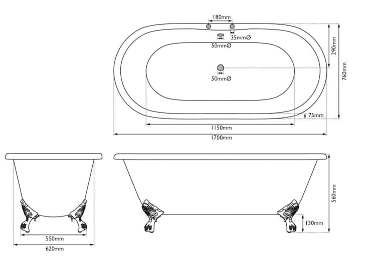 Measurements of the Ashby Double Ended Roll Top Cast Iron Bath :   by UK Architectural Antiques