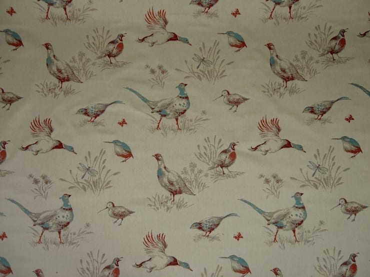 Pheasants Linen Cotton Tapestry Fabric Kingfisher Blue:  Windows & doors  by The Millshop Online