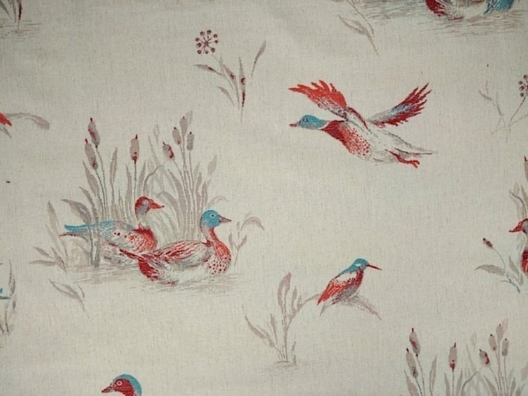 Flying Ducks Linen Cotton Tapestry Fabric Red Blue:  Windows & doors  by The Millshop Online