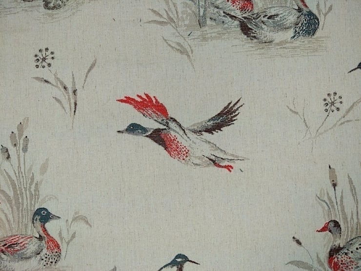 Flying Ducks Linen Cotton Tapestry Red Grey Fabric:  Windows & doors  by The Millshop Online
