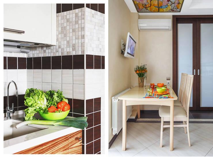 Уютная квартира в теплых  тонах: Кухня в . Автор – Ольга Макарова (Экодизайн) ,