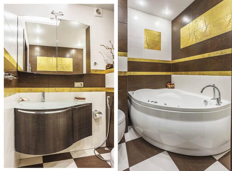 Золото и коричнывый в интерьере: Ванные комнаты в . Автор – Ольга Макарова (Экодизайн) ,