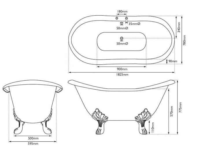 Dimensions of Banburgh Large Bath from UKAA Bathroom Range:   by UK Architectural Antiques