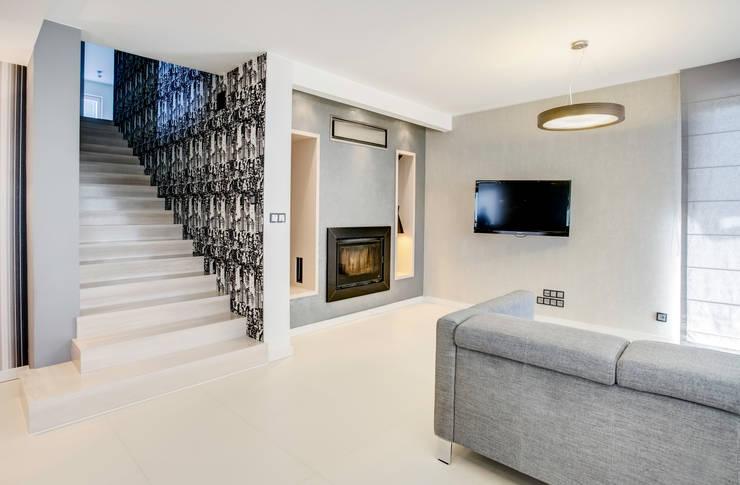 odcienie  S Z A R O Ś C I: styl , w kategorii Salon zaprojektowany przez DK architektura wnętrz