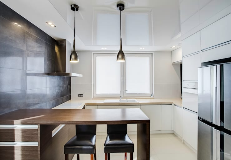 odcienie  S Z A R O Ś C I: styl , w kategorii Kuchnia zaprojektowany przez DK architektura wnętrz