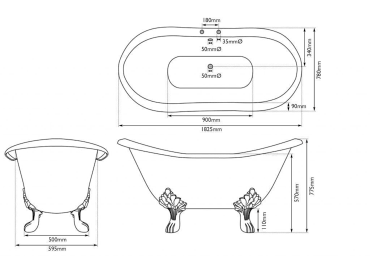 Dimension of the Cartmel Cast Iron Bath:   by UK Architectural Antiques
