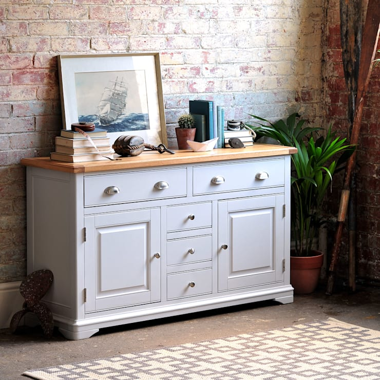Boston Light Grey Large Sideboard:  Dining room by The Cotswold Company
