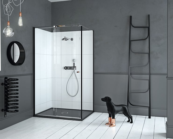 Mosc Slider Corner Black: modern Bathroom by Matki Showering