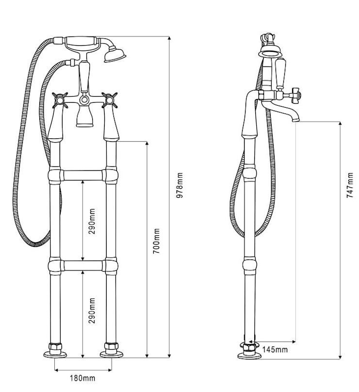 Dimensions of the Chrome Tap with Standpipe:   by UK Architectural Antiques