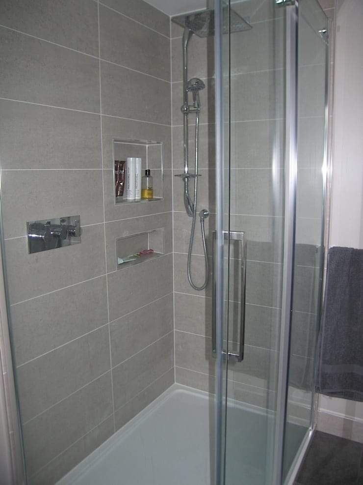 Modern built in shower shelve:  Bathroom by A1 Lofts and Extensions