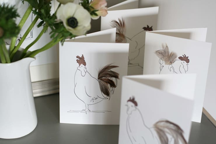 Hand finished cards:  Artwork by Cluck Cluck!
