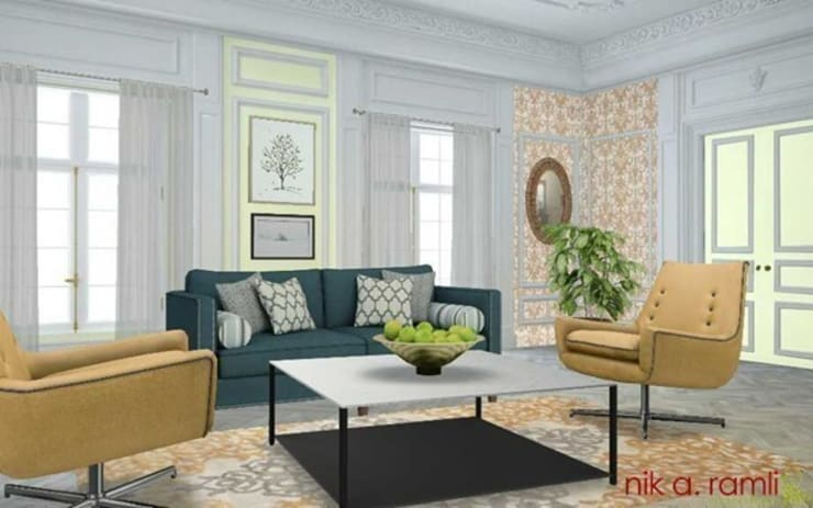 Traditional & Modern:  Living room by Nik A Ramli Interior Design